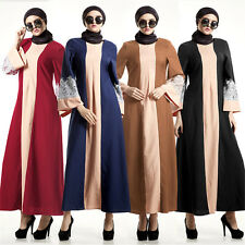 2017 Muslim Women Kaftan Dress Islamic Long Sleeve Abaya Jilbab Arab Maxi Dress