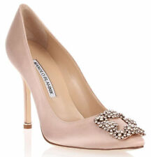 $965 NEW MANOLO BLAHNIK HANGISI Nude Flesh Satin JEWELED Pumps SHOES 41 41.5