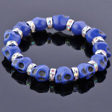"""Howlite Turquoise Skull Crystal Spacer Bead Jewelry Stretchy Bangle Bracelet 7""""L"""