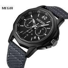 Megir Mens Quartz Watch Canvas Analog Waterproof Luminous Chronograph Wristwatch
