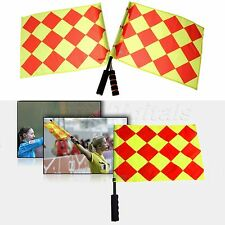 2pcs Soccer Linesmen Flags  Fluorescent Color Football Game Judge Referee Flag