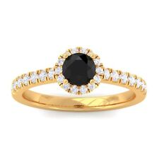Black Onyx IJ SI Diamond Gemstone Enagagement Ring Women 14K Yellow Gold