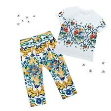 DOLCE GABBANA GIRL 8Y,12Y TROUSERS MAJOLICA COLOFUL PRINT PANTS SLIM FIT D&G NWT
