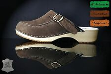 size 2 UK / 35 EU Lovely Women's wooden clogs, swedish , BROWN suede leather
