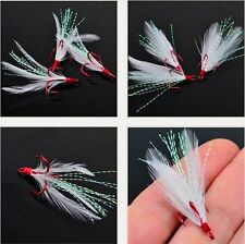 10Pcs Fishing Hooks 4# 6# Treble With Feather For Minnow Fishing Lures Crankbait