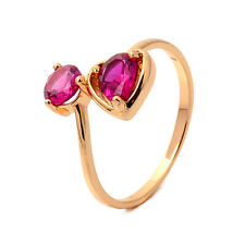 Delicate Heart 18K yellow Gold Filled Garnet Round CZ Promise Love Band Ring