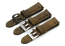 Replacing 24mm Handmade Vintage Genuine Leather Watch Band Strap For Panerai PAM