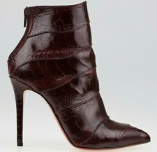$2235 New Christian Louboutin ZERMADAME Ankle Boots Burgundy OSTRICH So Kate 39
