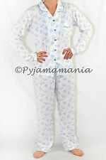 Pyjamas Ladies Long Sleeve 2 pc Set PJs (Sz 12-20) Blue Floral Sz 12 14 16 18 20