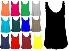 New Ladies Plain Sleeveless Scallop Edge strappy Vest Top Womens shirt