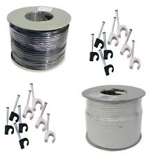 AERIAL SATELLITE CABLE WIRE 50m 100m 250m RG6 DIGITAL COAX CABLE BLACK WHITE