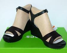 CROCS BNWT LADIES LEIGH 11 ANKLE STRAP WEDGE SANDALS SHOES BLACK Casual Comfy