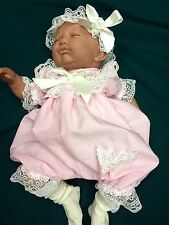 DREAM BABY PINK AND CREAM ROMPER WITH HBD NEWBORN 0-3 3- 6 MONTHS REBORN DOLLS