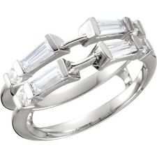 Baguette & Round Diamond Ring Wrap Guard ½ ctw VS G-H 14k White Gold & Platinum