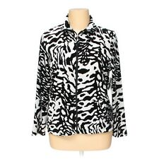 Women's Animal Black White Velour Zip Front Jacket Long Sleeves Stand Up Collar