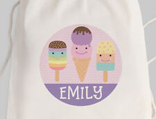 Bright Star Kids Personalised Library Double Drawstring or Tote Bag - Ice Cream