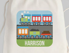Bright Star Kids Personalised Library Drawstring or Tote Bag - Railroad / Train