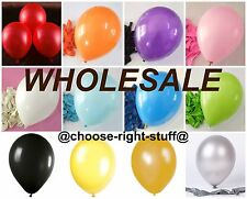 "WHOLESALE Job Lot Mix Colour 10"" Latex Plain Balloons LARGE High Quality baloons"