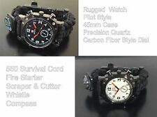 S Forces Military Survival Bracelet Paracord Compass Flint Fire Start 45mm Watch