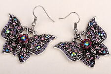 Butterfly dangle insect earrings bling fashion jewelry gifts for women EA10