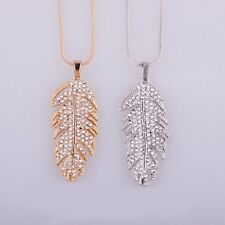 Fashionable Women Feather Leaves Decoration Charming Lady Necklace Jewelry F5