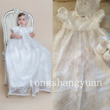 New Beads Baby Baptism Dresses Lace Applique Infant White Ivory Christening Gown