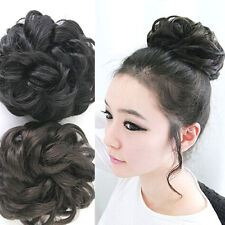 Women Wavy Curly Pony Tail Hair Bun Clip in Scrunchie Hair Extension Hairpiece