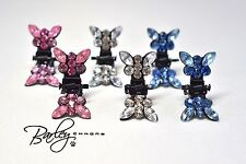 Rhinestone Butterfly Dog Cat Pet Hair Clips (2) - Blue, Clear or Pink