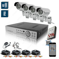 4 Camera HD 1080P 2MP Night Vision Outdoor DVR Home Security CCTV System Kit
