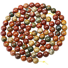 "Picasso Jasper Gemstone Round Ball Loose Beads 8 10mm Reiki Stone Jewelry 15""L"