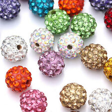 20Pcs Fashion Czech Crystal Rhinestones Pave Clay Round Disco Ball Spacer Beads