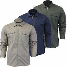 Mens T Shirt Long Sleeve Brave Soul 'Sequad' Zip Collared Pocket Casual Top S-XL