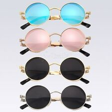 Women's Glasses Metal Flat Lens Mirrored Round Sunglasses Outdoor Eyewear Men