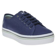 New Womens Fred Perry Blue Phoenix Flatform Canvas Trainers Plimsolls Lace Up
