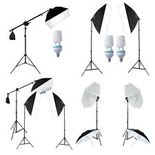 Photo Studio Continuous Umbrella Lighting Bulbs Softbox Boom Arm Light Stand Kit