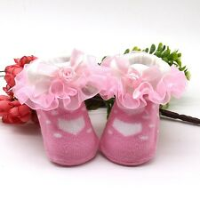 Cute Toddle Baby Kid Girl Princess Cotton Socks Lace Frilly Infant Ruffled Socks