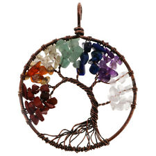 Tree of Life Healing Crystal Wire Wrap Gemstone Loose Beads Necklace Pendant