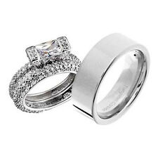 His and Hers Wedding Rings 3 pcs Engagement CZ Sterling Silver Tungsten Set CP