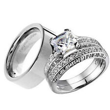 His and Hers Wedding Rings 3 pcs Engagement CZ Sterling Silver Tungsten Set CH