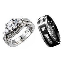 His Hers Wedding Ring Set Sterling Silver Round Cubic Zirconia Titanium Band IJ