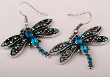 Dragonfly dangle insect earrings bling fashion jewelry gifts for women crystal