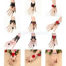 Vintage Rose Flower Lace Gothic Party Bracelet Chain Ring Fashion Jewelry Gifts