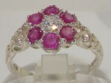 Ladies Solid Hallmarked Sterling Silver Genuine Natural Diamond Ruby Daisy Ring