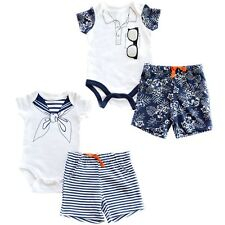 Baby Boys Shorts & Tshirt Bodyvest Set 2 Piece Sailor Suit / Hawaiian 0-9 Months