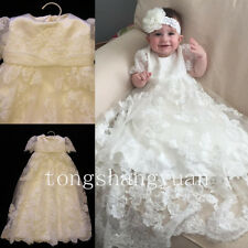 Baby Baptism Gowns Lace Applique Infant Christening Dresses White Ivory Headband