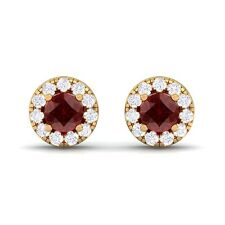 Red Garnet FG SI Diamond Gemstone Womens Halo Stud Earring 18K Solid Gold