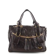 CHLOE Leather Large Bay Tote Bag Dark Brown 163114