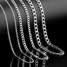 925 Mens Sterling Silver Curb Chain Necklace Bracelet 16 18 20 24 28 30 Inch