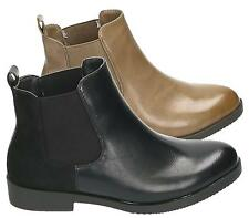 WOMENS LADIES FLAT SLIP ON CHELSEA STRETCH ANKLE SHOE BOOTS UK SIZES 3-8