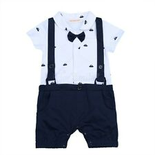 Kids Boys Baby Romper Jumpsuit One-piece Bowtie Clothes Outfit Sets 6-24 Months